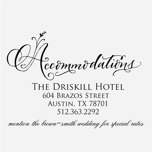 """""""Floral Calligraphy"""" Accommodations Stamp"""