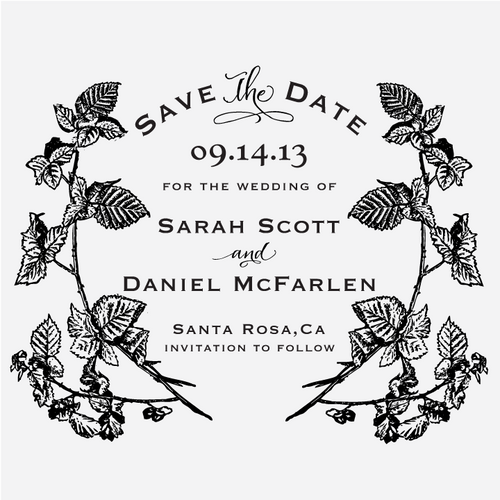 """Berry Vines"" Save the Date Stamp"