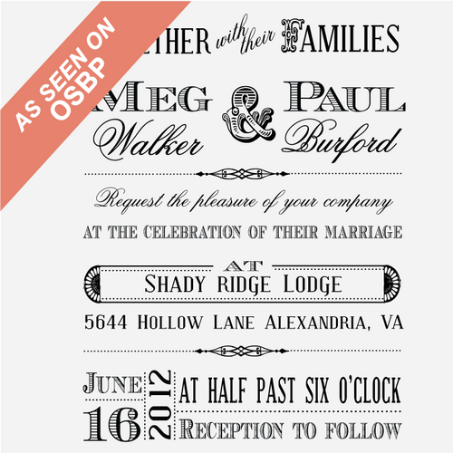"""Old West"" Wedding Invitation Rubber Stamp"