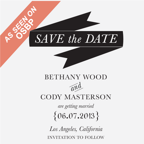 """Modern Banner"" Save the Date Stamp"