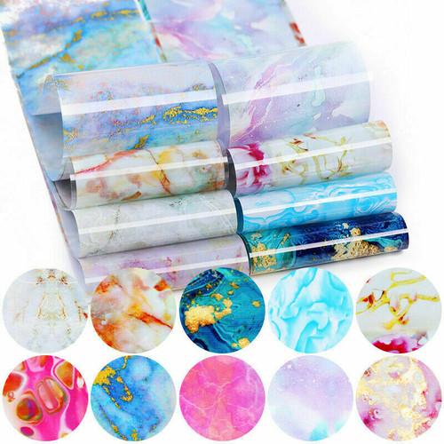 Watercolor & Stone Effect Nail Art Transfer Foils Marble Flower 10pc set