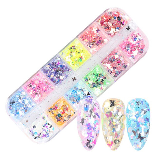 Colorful Nail Art Shapes Iridescent Glitter Sequins