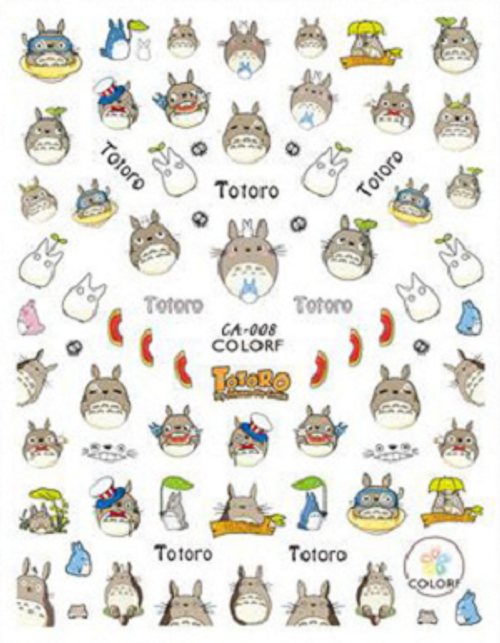 Totoro Nail Art Stickers ColorF CA-008