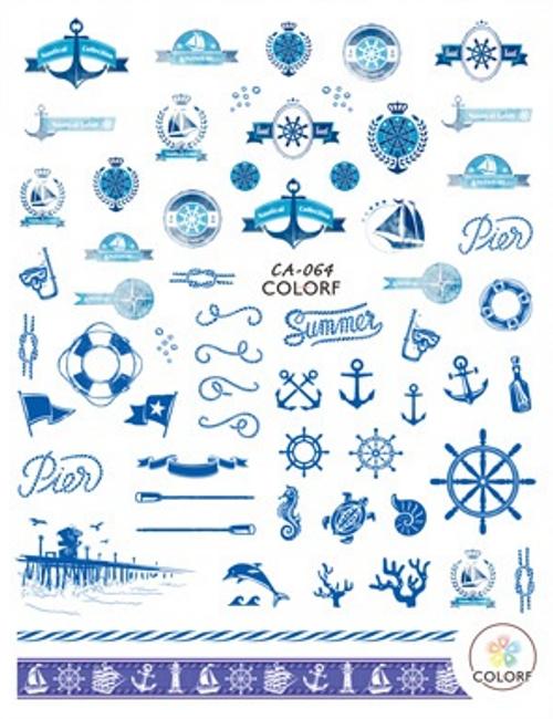 Blue Nautical Nail Art Stickers ColorF CA-064