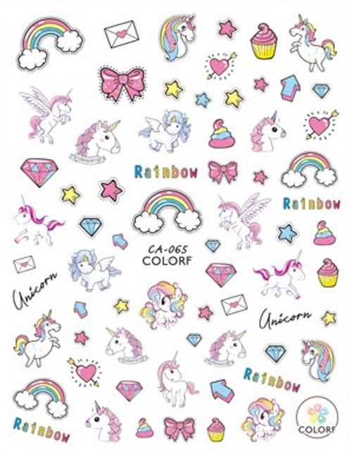 Rainbows & Unicorns Nail Art Stickers ColorF CA-065