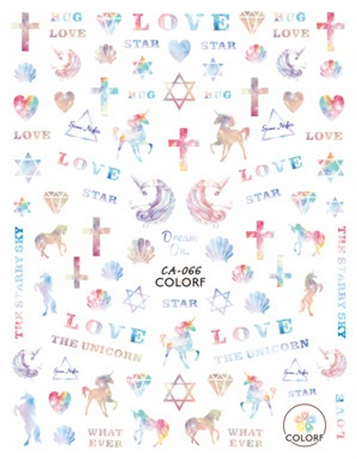 Pastel Galaxy Unicorn Nail Art Stickers ColorF CA-066