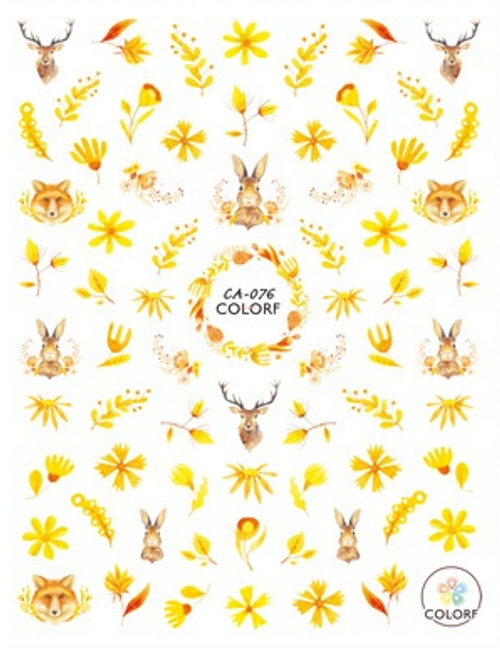 Yellow Autumn Nail Art Stickers ColorF CA-076