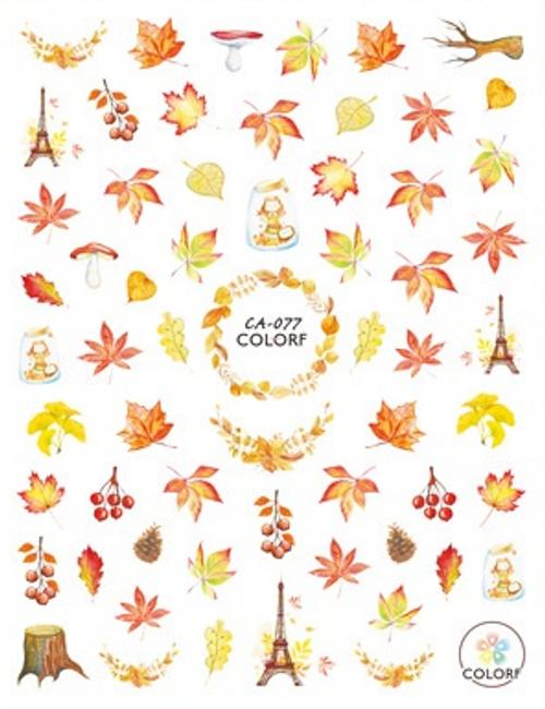 Autumn Eiffel Tower Nail Art Stickers ColorF CA-077