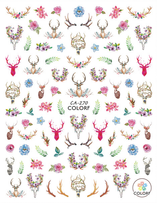 Floral Deer Nail Art Stickers Pink ColorF CA-270