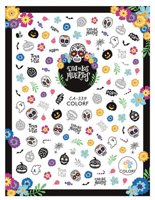 Día de los Muertos Nail Art Stickers ColorF CA-339 Day of the Dead Halloween Autumn Fall