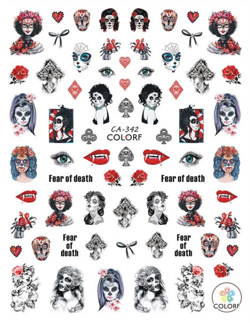 Female Sugar Skull Nail Art Sticker ColorF CA-342