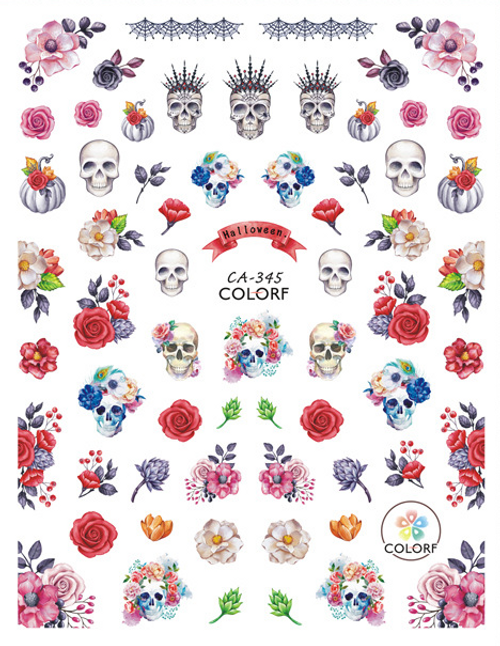 Floral Skull Nail Art Stickers ColorF CA-345