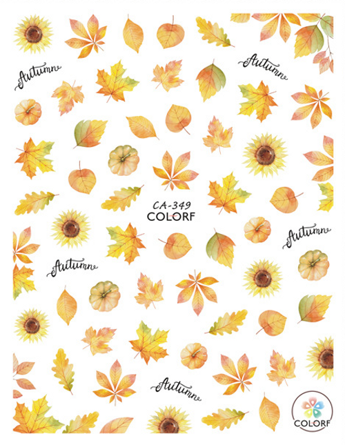 Autumn Sunflowers Nail Art Stickers ColorF CA-349