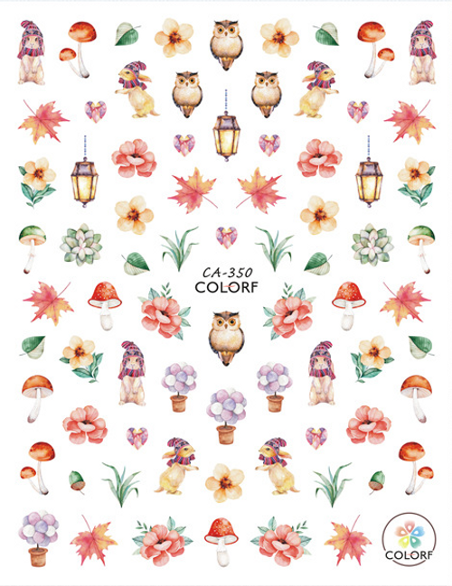 Autumn Nail Art Stickers ColorF CA-350 Owls Leaves Fall