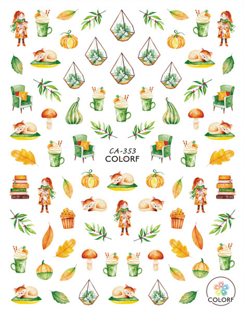 Cozy Autumn Nail Art Stickers ColorF CA-353