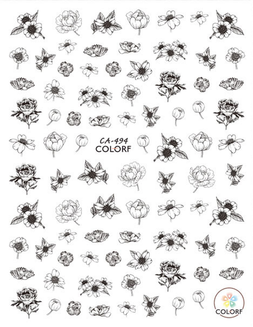 Black & White Floral Nail Art Stickers ColorF CA-494