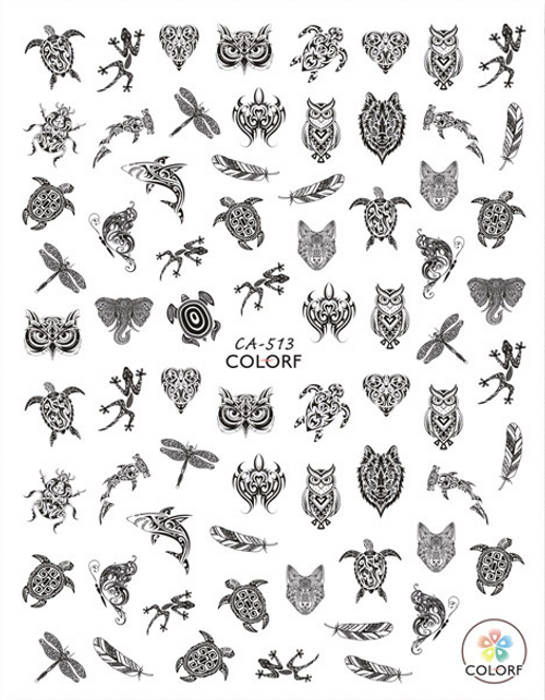 Tribal Animals Nail Art Stickers ColorF CA-513