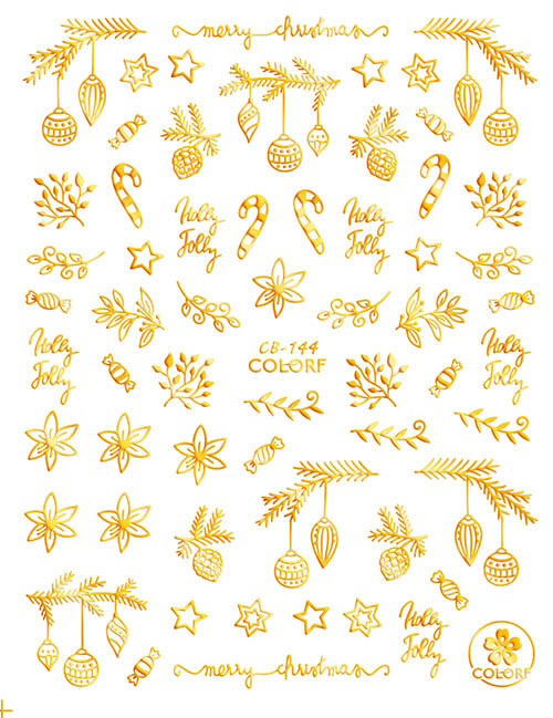 Gold Christmas Nail Art Stickers ColorF CB-144