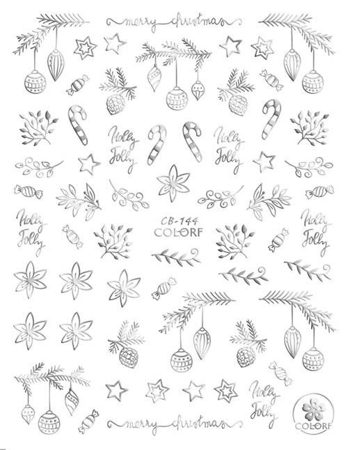 Silver Christmas Nail Art Stickers Metallic ColorF CB-144