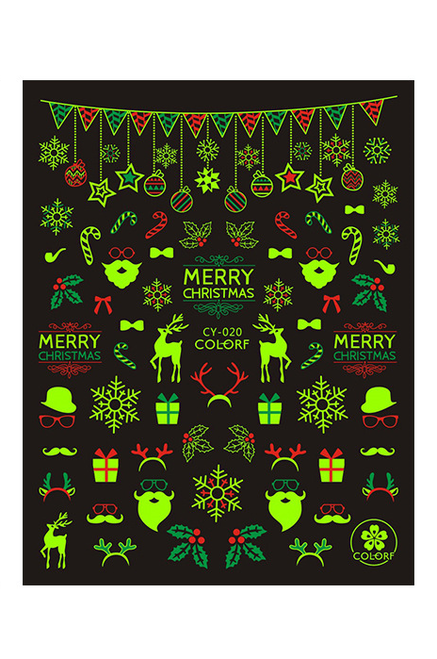 Glow-in-the-Dark Christmas Nail Art Stickers
