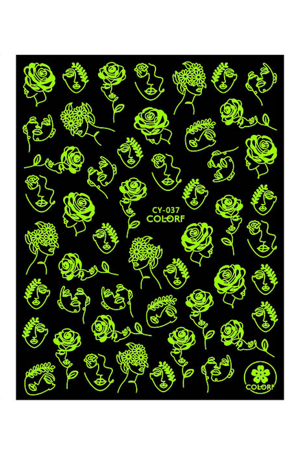 Abstract Glow-in-the-Dark Nail Art Stickers CY-037