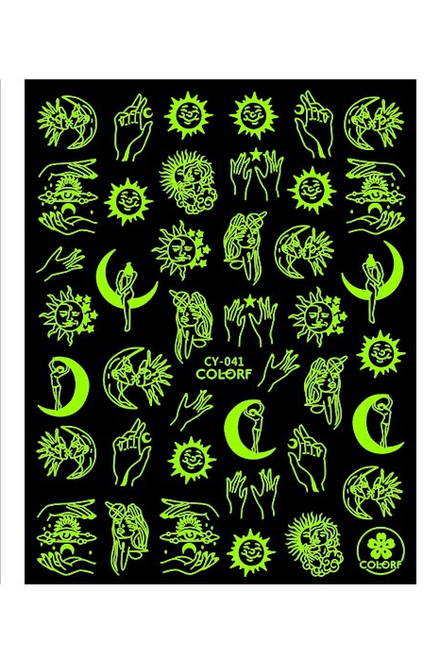 Celestial Glow-in-the-Dark Nail Art Stickers CY-041 ColorF