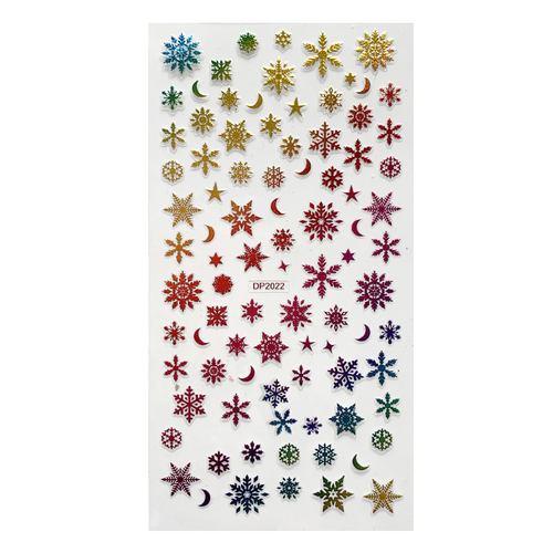 Colorful Metallic Snowflakes Nail Art Stickers DP2022