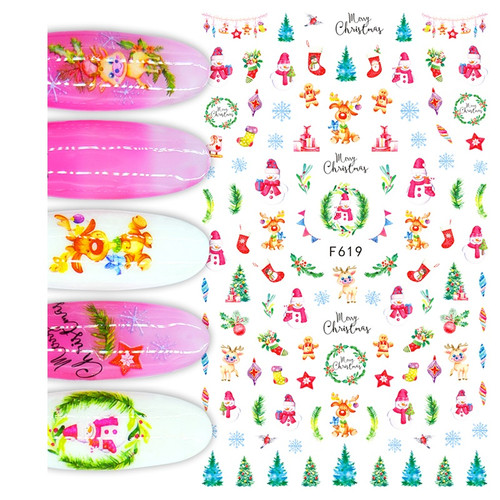 Colorful Christmas Nail Art Stickers F619