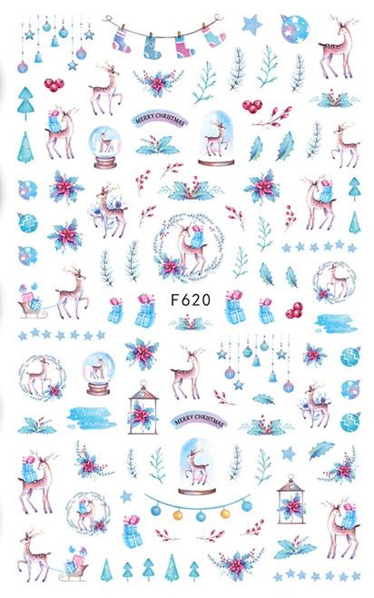 Blue Winter Deer Nail Art Stickers F620