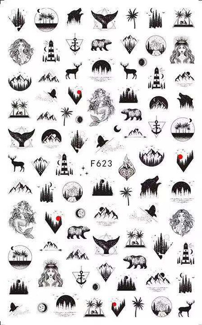 Geometric Nature Nail Art Stickers F623