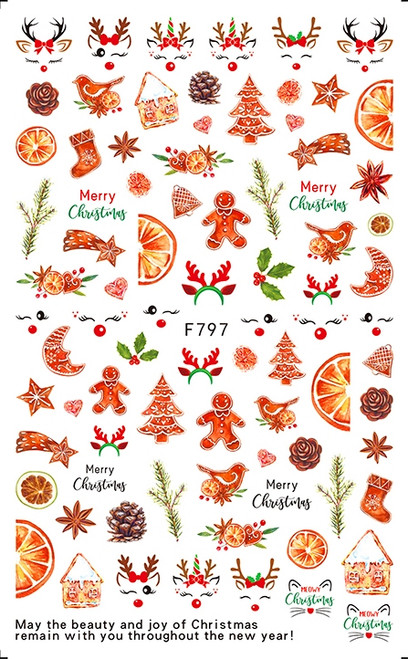 Christmas Sweets Nail Art Stickers F797