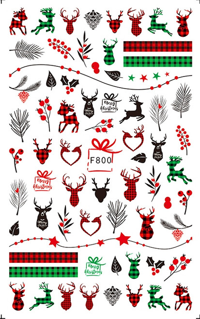 Plaid Deer Nail Art Stickers Red Green Winter Christmas F800