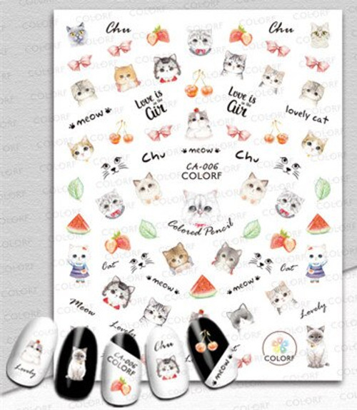 Cute Kittens Nail Art Stickers ColorF CA-006 Cats