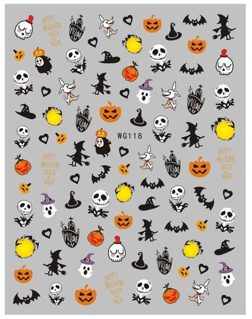 Jack Skellington Nail Art Stickers WG118 Halloween Cartoon Anime