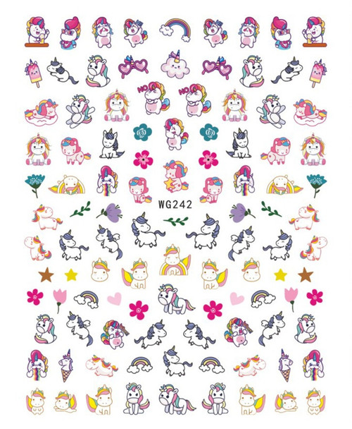 Cute Unicorn Nail Art Stickers Cartoon WG242
