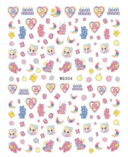 Care Bears Nail Art Stickers WG304 Cartoon Pastel