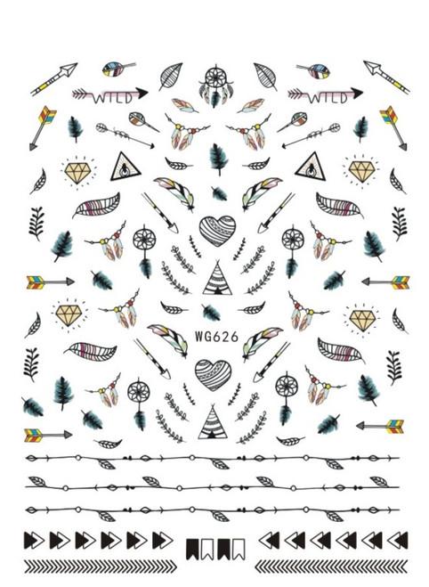 Hearts, Feathers & Arrows Nail Art Stickers Dreamcatcher WG626
