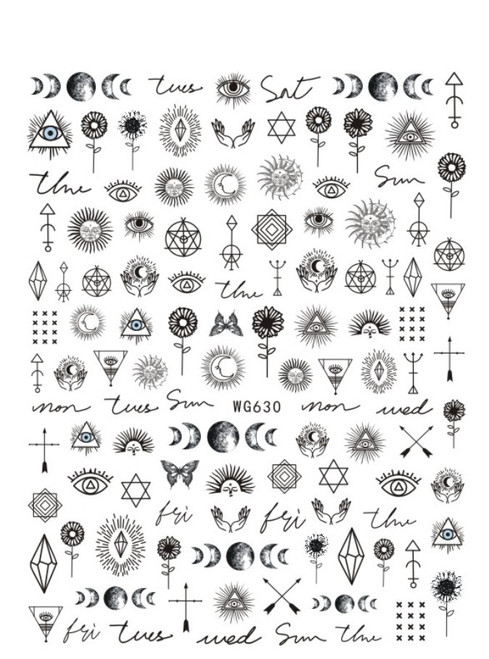 Mythical Black Nail Art Stickers WG630