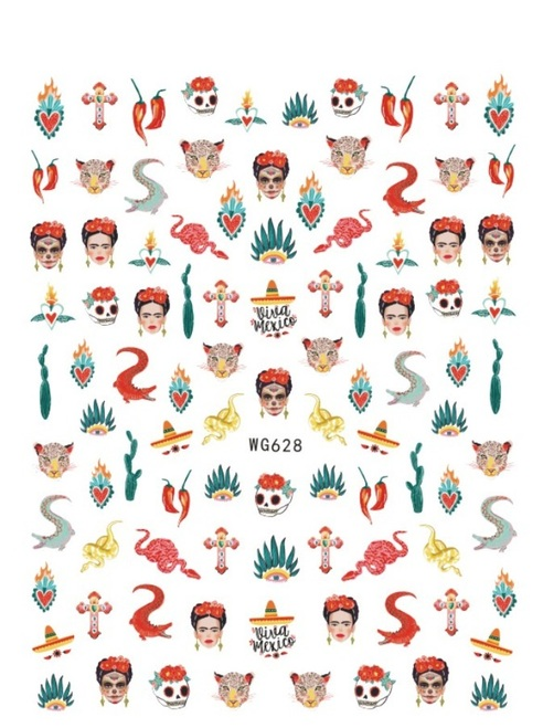Mexico Themed Nail Art Stickers WG628 Frida Kahlo Snakes Cactus