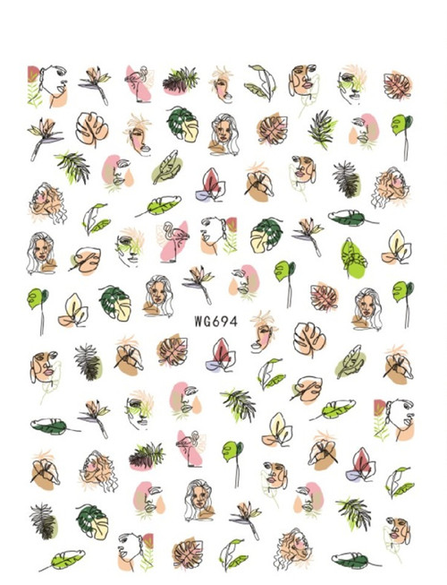 Abstract Floral Faces Nail Art Stickers WG694