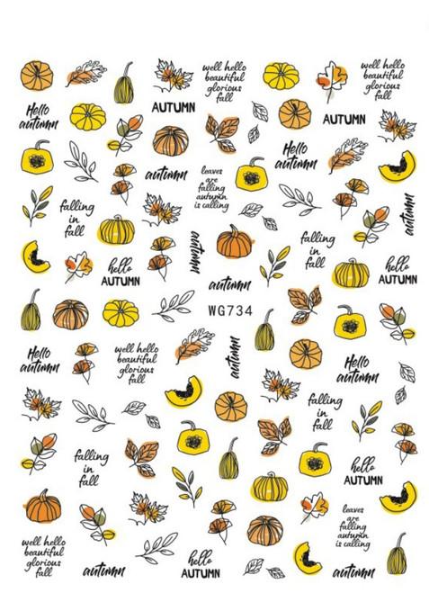 Abstract Autumn Nail Art Stickers WG734 Fall Pumpkin