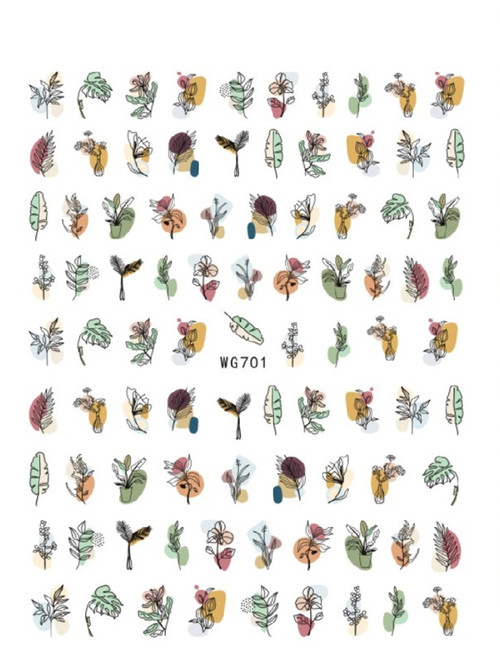 Abstract Leaves Nail Art Stickers WG701