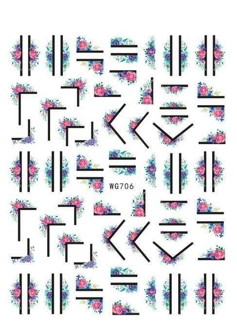 Floral Frames Nail Art Stickers Abstract Lines WG706