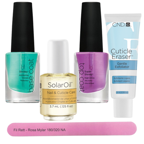 CND Manicure & Nail Care Kit with Solar Oil, Super Shiny Top Coat, Sticky Base Coat, and a pink nail file