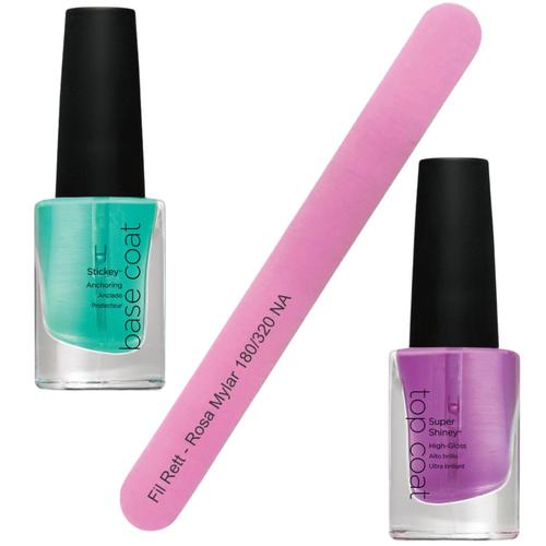 CND Mini Manicure Kit including Sticky Base Coat, Super Shiny Top Coat, and a pink nail file