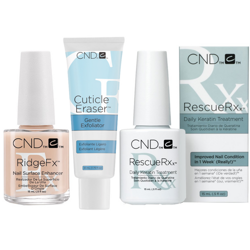 CND Nail Rescue & Recovery Kit with RescueRXx Daily Keratin Treatment, RidgeFX Nail Enhancer, and Cuticle Eraser Gentle Exfoliator