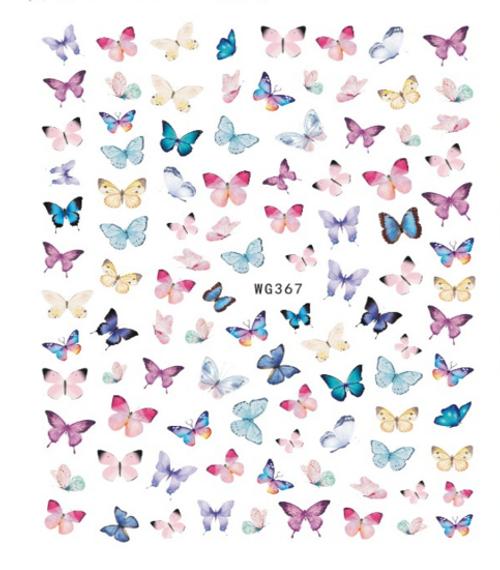Pastel Butterfly Nail Art Stickers WG367