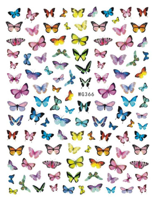 Rainbow Assorted Butterfly Nail Art Stickers