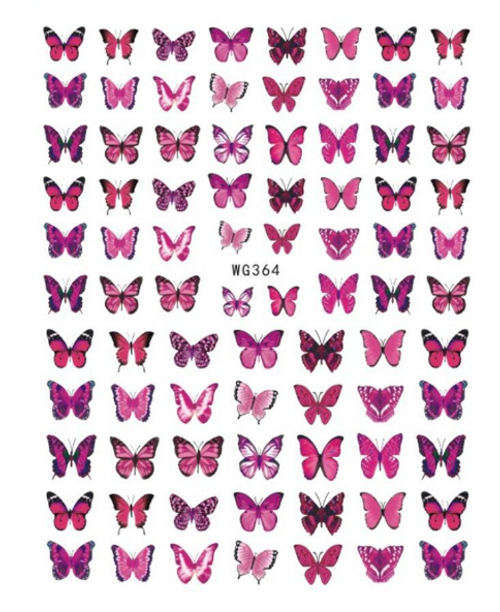 Pink Butterfly Nail Art Stickers