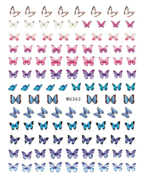 Pink to Blue Butterfly Nail Art Stickers